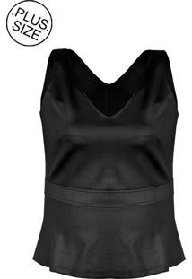Blusa Linda D Regata Peplum Malha Scuba Plus Size Preto (526)