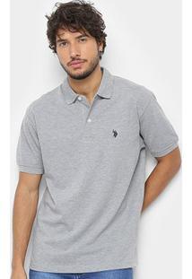 Camisa Polo U.S. Polo Assn Básica Lisa Masculina - Masculino-Cinza Claro
