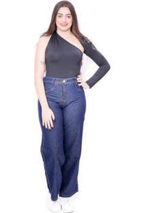 Calça Jeans Feminina Wide Leg Cintura Alta Denim C