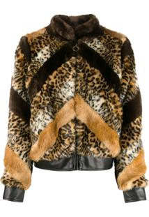 Twin-Set Jaqueta Animal Print - Marrom