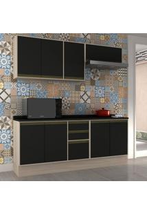 Cozinha Compacta Safira Ii 8 Pt 3 Gv Preta E Creme