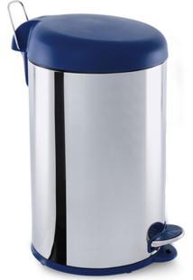 Lixeira Inox Com Pedal & Tampa 12 Litros Azul