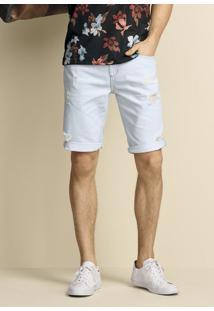 Bermuda Jeans Masculina Slim Com Lavação Clara Tradicional