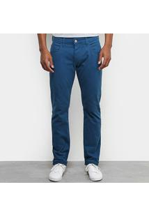 Calça Sarja Forum Paul Slim Masculina - Masculino-Azul Escuro
