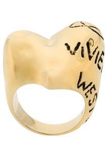 Vivienne Westwood Anel Grosso Com Logo - Metálico