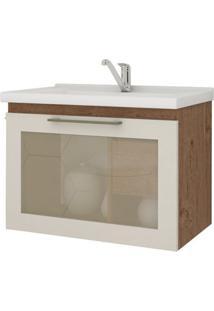 Gabinete De Banheiro Hibisco 1 Pt 1 Gv Amêndoa E Off White 59 Cm