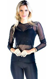 Blusa Lisa Em Tule - Pretadwz
