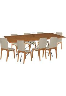 Conjunto Sala De Jantar 8 Cadeiras Mesa 200Cm Carvalho/Champagne Lins Linho Bege - Gran Belo - Tricae