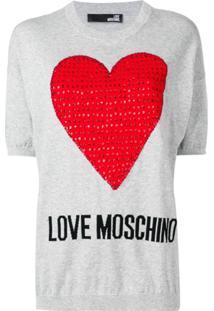 Love Moschino Top De Tricô Com Coração Bordado Com Paetê - Cinza