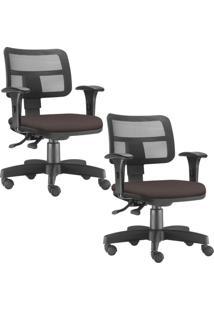 Kit 02 Cadeiras Giratã³Rias Lyam Decor Zip Suede Marrom - Marrom - Dafiti
