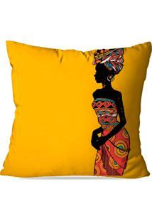 Capa De Almofada Africana Amarelo 35X35Cm