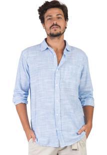 Camisa Listrada Azul Claro / Branco