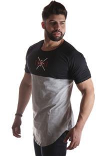 Camiseta Top Fit Long Preta/Cinza