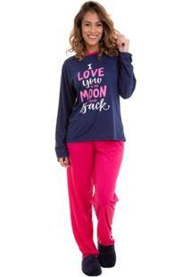 Pijama Manga Longa Estampado Luna Cuore Feminino - Feminino-Marinho