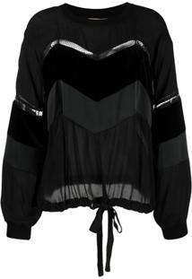Twin-Set Blusa Com Cordão De Ajuste - Preto