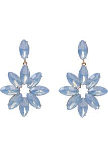 Brinco Le Briju Metal Com Flor De Chatons Dourado Gotina Azul