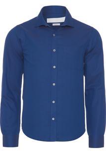 Camisa Masculina Maquinetada Losango - Azul