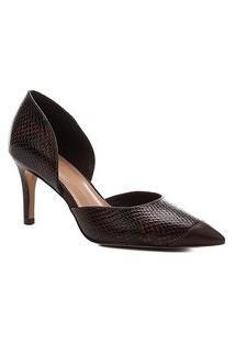 Scarpin Shoestock Couro Snake Salto Alto