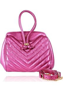 Bolsa Campezzo Couro Pink Metalizado Eva