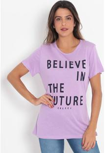"Camiseta ""Believe In The Future""- Lilás & Azul Marinho"