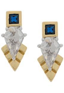 V Jewellery Par De Brincos Thea Com Cristais - Dourado