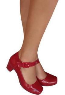 Sapato Boneca Verniz Salto Baixo Grosso Duani Feminino - Feminino-Vermelho