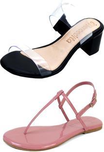 Kit Sandália Tamanco Salto E Rasteira Mercedita Shoes Cristal Com Preto E Verniz Opala