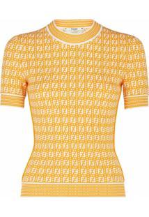 Fendi Blusa De Tricô Com Estampa Ff - Amarelo