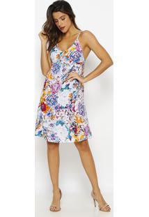 Vestido De Alça Estampado- Rosa & Roxo- Vip Reservavip Reserva