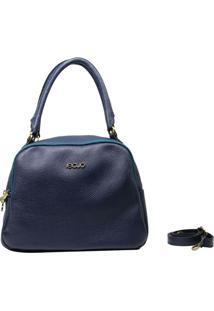 Bolsa Em Couro Recuo Fashion Bag Baú Argo Azul