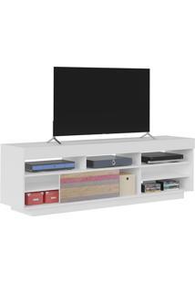 Rack Treviso Branco Com Antique Para Tv Até 47 Polegadas, Pés Com Rodízios, Porta Deslizante, Prateleira E Nichos - Artely
