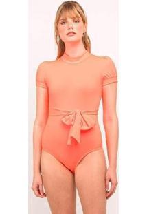 Body Elora Neon Feminina - Feminino-Laranja