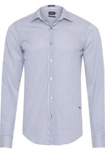 Camisa Masculina Traveller Ny Listrada - Azul E Branco