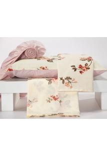 Jogo De Lençol Monterey Casal Padrão 4 Peças Floral Rosê