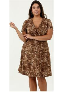 Vestido Feminino Liganete Estampa Animal Print Plus Size