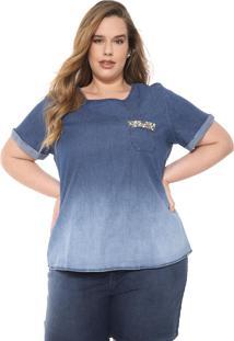 Blusa Jeans Cativa Plus Aplicações Azul-Marinho