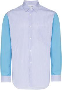 Comme Des Garçons Shirt Camisa Com Recorte De Listras - Azul