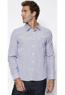 Camisa Listrada Com Bolso - Azul & Brancapresidium