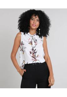 Regata Feminina Estampada Floral Gola Laço Off White