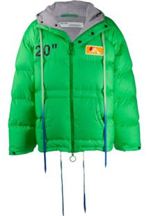 Off-White Multicoloured Strings Padded Jacket - Verde