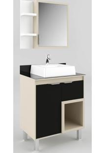 Gabinete Banheiro Com Tampo De Vidro E Preto Lilies - Multicolorido - Dafiti