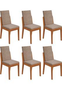 Conjunto Com 6 Cadeiras Lira Ll Rovere E Bege