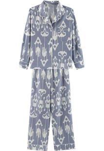 Pijama Feminino Longo Em Algodão Com Botões Azul