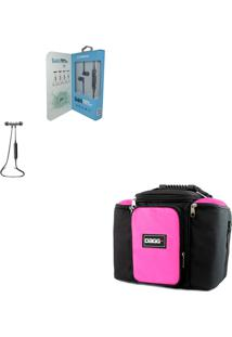 Kit Bolsa Térmica Fitness Rosa G Fone De Ouvido Bluetooth Sports