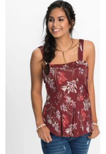 Blusa Peplum De Alças Floral Bordô
