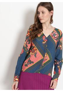 b4e4f71c3c ... Camisa Floral Com Botões - Azul   Rosa - Malweemalwee