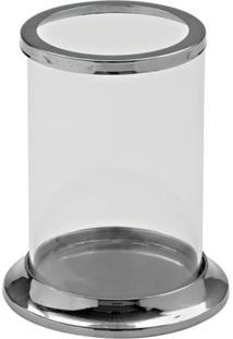 Castiçal Decorando Com Classe De Vidro E Metal Branco