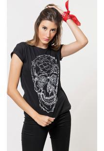 Camiseta Joss Básica Line Skull Preta