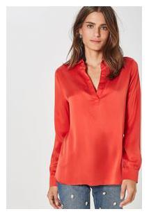 Camisa Seda Polo Fabiola Cetim Vermelho Brasao