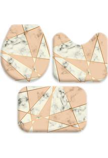 Jogo Tapetes Love Decor Para Banheiro Geometric Marble Creme Único - Kanui